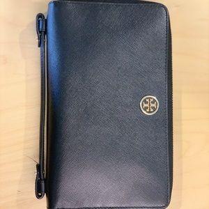 Tori Burch black leather clutch